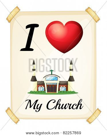 Illustration of I love my church sign