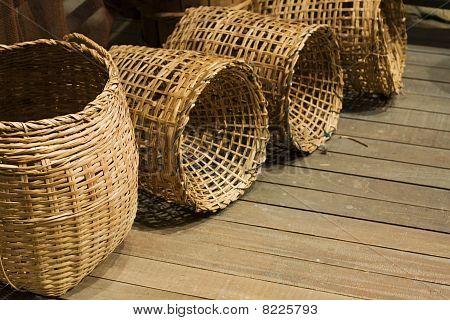 Baskets On Wood Floor