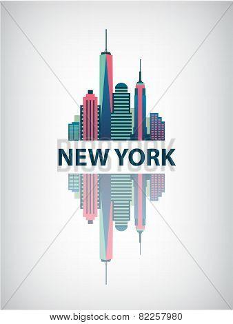 New York city architecture retro vector illustration, skyline silhouette, skyscraper