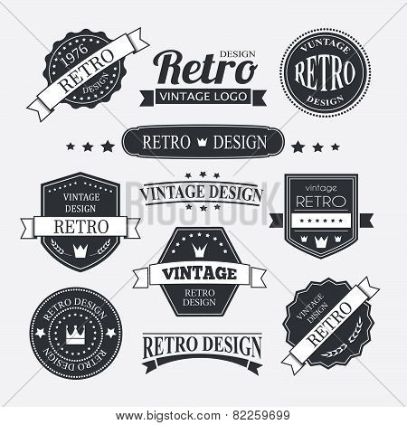 Retro Vintage Insignias or Logotypes set. Vector design elements business signs logos identity labels badges and objects. poster