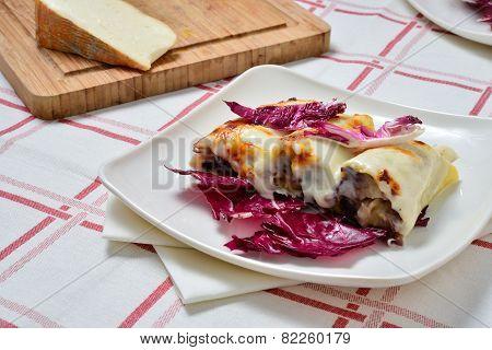 Cannelloni With Radicchio And Taleggio Cheese Fondue