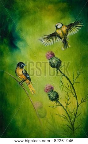 A beautiful oil painting on canvas of a pair of songbirds flattering above a distel flower on an emerald green background poster