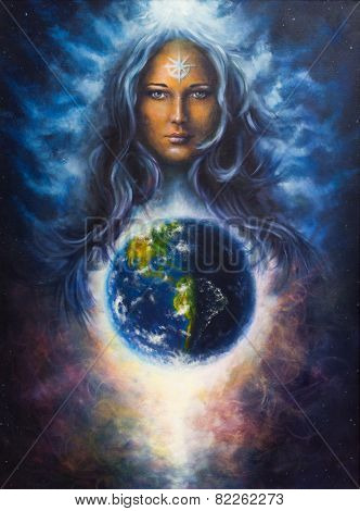 Beautiful Oil Painting On Canvas Of A Woman Goddess Lada As A Mighty Loving Guardian And Protective