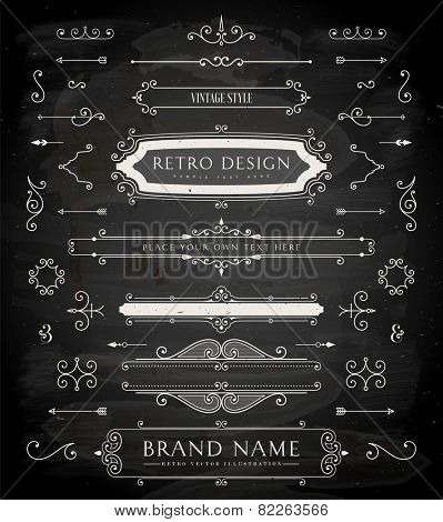 Set of Retro Vintage Badges, Frames, Labels and Borders for Logo or Emblem Design. Chalk Board Background. eps10