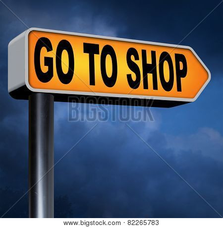 Shop now sign go to the online webshop , internet web shopping