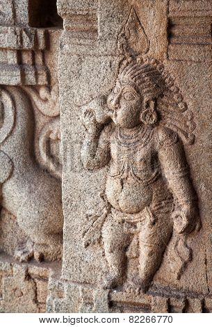 Ancient Basrelief In Hampi