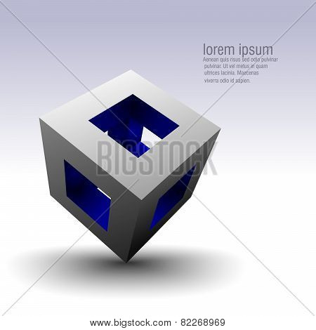Abstract hollow cube vector