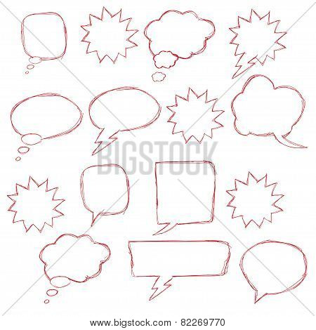 Collection spoken clouds isolated on a white background, vector