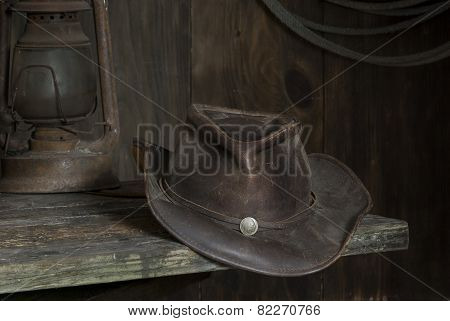 cowboy hat in the barn