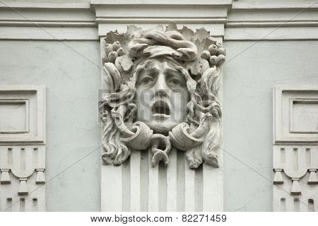 Medusa Gorgon. Mascaron on the Art Nouveau building in Prague, Czech Republic.