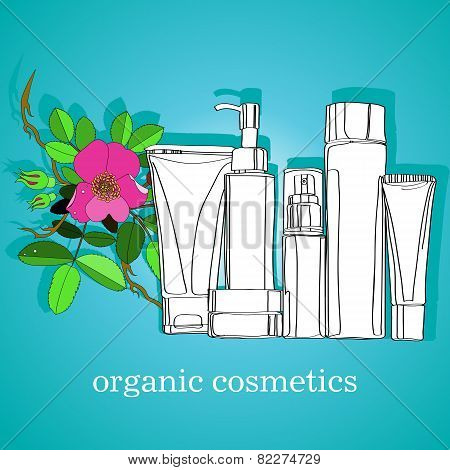 set of organic cosmetics bottles and tubes. vector illustration poster