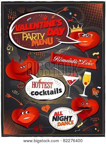 Chalkboard Valentine day party menu design.