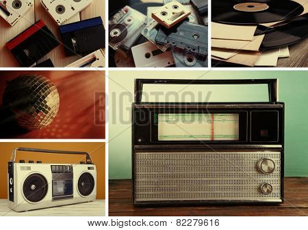 Vinyl records, audio cassettes, microphone, tape recorder and radio set in collage poster