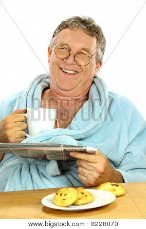 Middle Aged Man At Breakfast