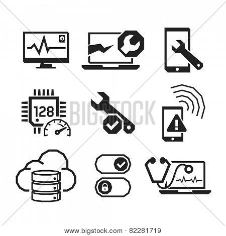 Computer repair icons set 01  // BW Black & White