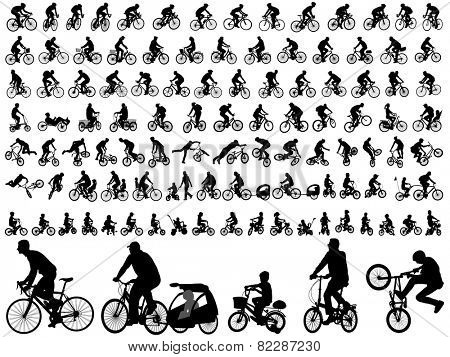 106 high quality bicyclists silhouettes poster
