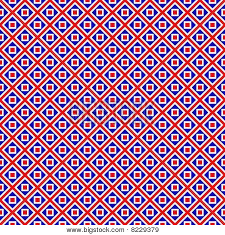 Red, Blue And White Block Pattern