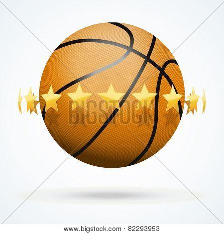 Vector illustration of basketball ball with golden stars