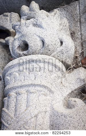 ANNAPOLIS, MARYLAND- DECEMBER 27, 2014: A close up view of a stone torch with flames carved in granite salvaged from a US Naval Academy building facade.