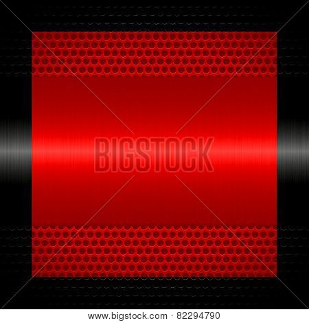 red steel metal texture with holes metal background