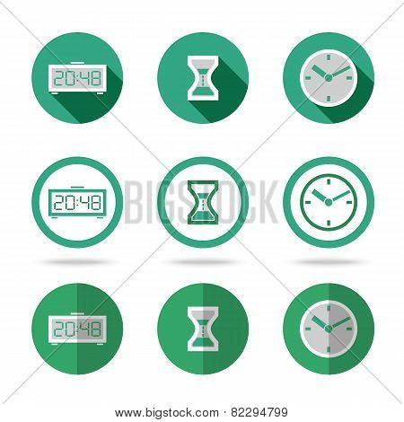 Flat time icons set. Different kinds of flat style. Vector