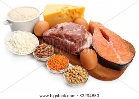 Food high in protein isolated on white