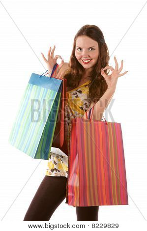 Beautiful shopping girl with bags indicating OK sign