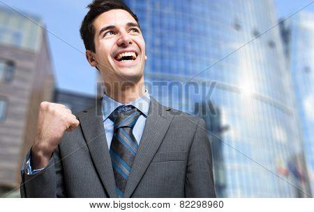 Happy businessman obtaining a promotion