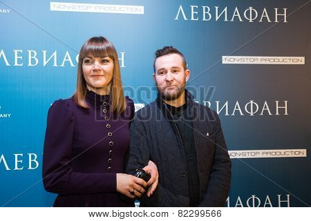 MOSCOW - JANUARY, 28: Actress A. Ukolova, actor Alexei Rozin. Premiere of the movie Leviathan at Moscow Cinema,  January, 28, 2015 in Moscow, Russia