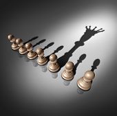 Leadership search and business recruitment concept as a group of pawn chess pieces and one individual standing out with a king crown cast shadow as a metaphor for the chosen one. poster
