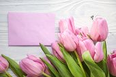 tulips and post card. March 8th, mother's day, valentine's day, International Women's Day, lilac, congratulate, celebrate poster