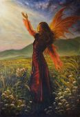 A beautiful painting oil on canvas of a fairy woman in a historic dress standing in rays of sunlight amids a wild meadow poster