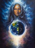 A beautiful oil painting on canvas of a woman goddess Lada as a mighty loving guardian and protective spirit upon the Earth poster
