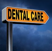 dental health care center oral hygiene or surgery for healthy teeth without caries but with a beautiful smile road sign with text  poster