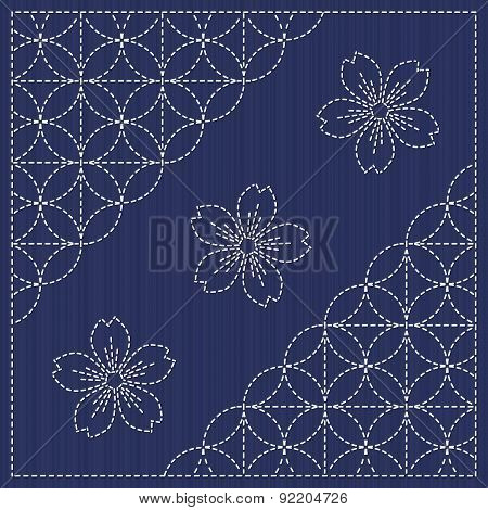 Sashiko motif - blooming cherry flowers and circles. Seamless pattern. Japanese seamless moti