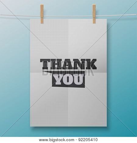 Thank You poster like white sheet on clothespins. Illustration for your business artwork, websites,