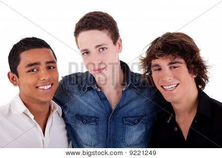 Friends: Three Young Man Of Different Colors,looking To Camera And Smiling, Isolated On White, Studi