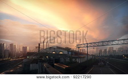 Matte paint background, fantastic city landscape with the sky sunset.