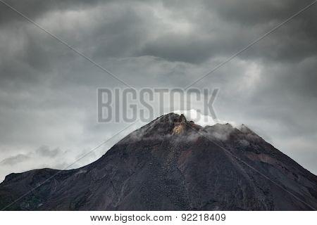 Mountain Merapi volcano, Java, Indonesia. Dramatic photo