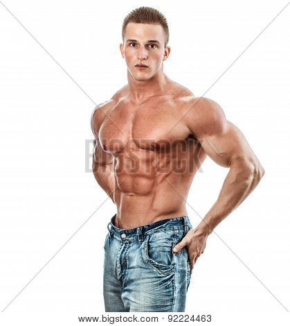 Bodybuilder Isolated On White. Muscle Man With Perfect Body