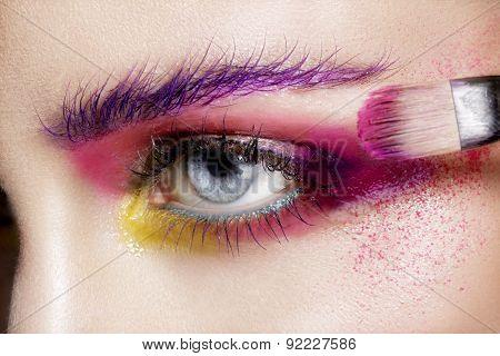 Close Up On Eyes , Making Colorful Eyeshadows And Eyeliner