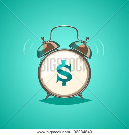 Alarm clock is showing a money time. Isolated object \ background.