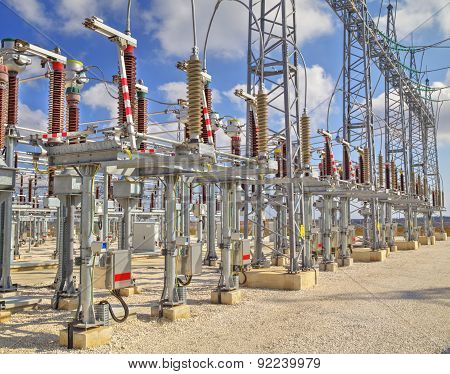 High voltage switch-yard in modern electrical substation poster