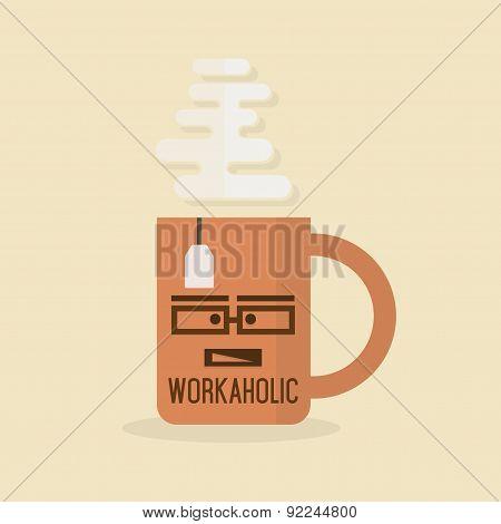 Workaholic Mug - Abstract orange flat mug with tea bag