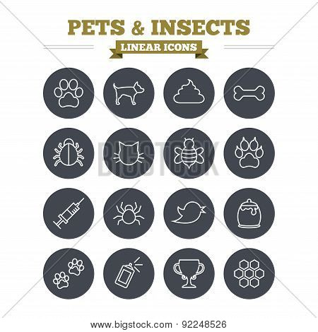 Pets and Insects linear icons set. Dog paw. Cat paw with clutches. Bone, feces excrement and vaccination. Honey, bee and honey comb. Thin outline signs. Flat circle vector poster
