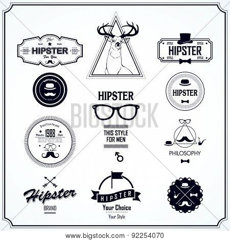 Vector Illustration In Hipster Style. Logo Set.
