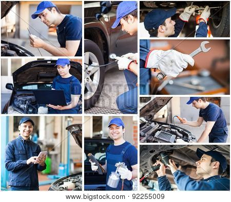 Images of a mechanic at work