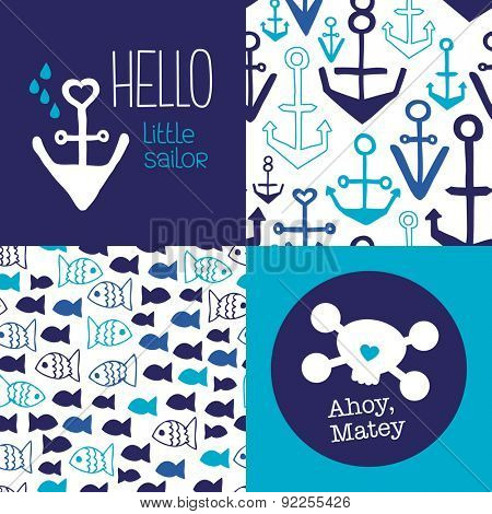 Hello little sailor kids marine anchor fish seamless background pattern set and ahoy matey pirate postcard cover design in vector