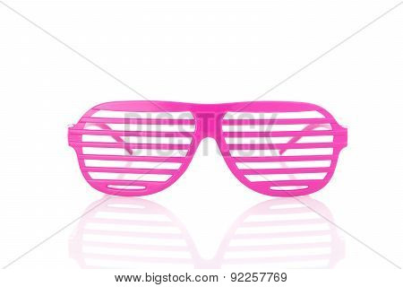Pink 80's Slot Glasses Isolated On White Background