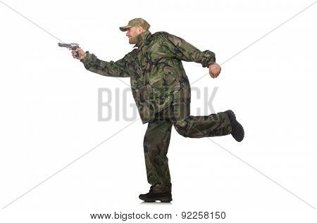 Running soldier with a handgun isolated on white poster